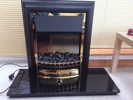 Electric Fire with coal effect plus granite/marble hearth