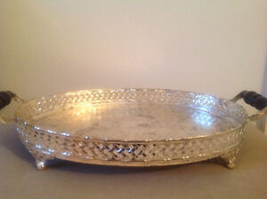 Pretty old Silver plated Butler's handled tea/vanity Tray