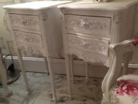 Pair Shabbychic French bedsides