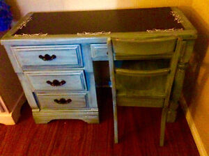 Light blue refinished desk and chair - chalkboard paint top