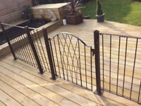 Assorted Metal railing lengths with gates and posts (approx 30ft. Total length)