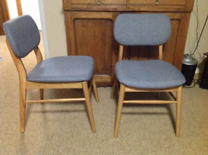 Retro teak chairs with new upholstered seats and backs
