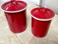 Red Cream Enamel Storage Jars x2