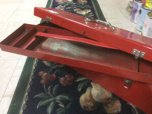 Red metal tool box