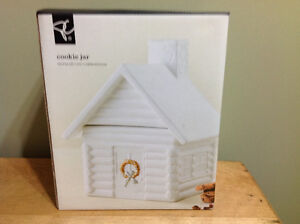 "Pc cookie jar ""log cabin design"""