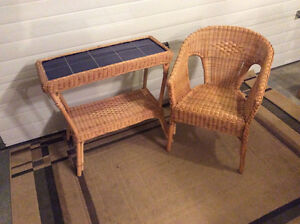 Wicker Chair and Tile Top Wicker Table
