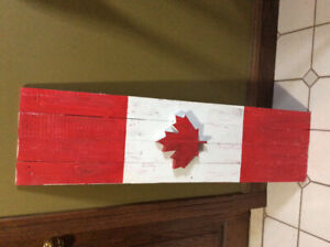 Wooden handcrafted Canadian flags