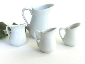 Set of 4 White Porcelain Ceramic Mini Jugs Traditional Style Peterborough Peterborough Area image 1