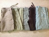 Job lot of 5 ladies summer cotton trousers,very good condition good makes size 12