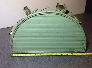 """Rustic metal shelf with green floral detail 13"""" tall x 15"""" wide Cambridge Kitchener Area image 2"""