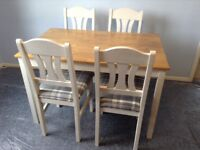 Table and 4 painted Chairs
