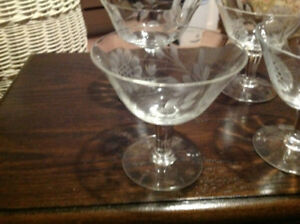 Vintage crystal dessert or parfait glasses (4)