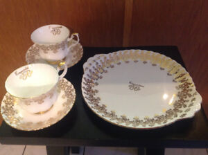 50th Wedding Anniversary Plate with 2 Cups and Saucers