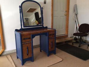 Royal blue and wood stained vanity