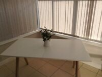Large White Solid Table and Four chairs