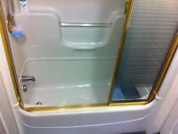 Tripanel shower doors