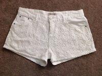 White crochet patterned size 12 shorts