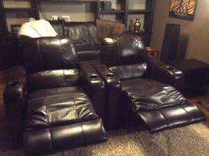 Two Leather Berkline 090 Theatre Chairs with Buttkickers Windsor Region Ontario image 4