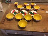 Collection of Kellogg's Cornflake mugs, cups, saucers and bowls crockery ceramics