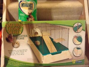 Hamster cage and bedding