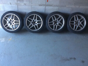 "Set of used 17"" BBS RA518 Rims with Sumitomo Tires"