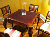High Quality Antique Wood Bridge Table & Chairs
