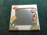 Large wood mirror & butterfly shelves