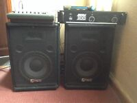 Carlsbro PA system with speakers and mixer and mic
