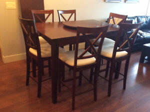 Solid Wood Dining Set with 8 Chairs and Lazy Susan