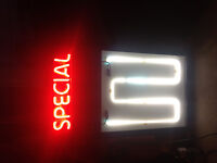Neon Lighted Advertising Sign
