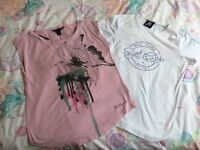 REDUCED 2 x ladies t-shirt bundle billabong hot tuna top size 10
