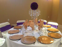 CRYSTAL CENTERPIECES AND CHAIR COVERS ($1) FOR RENT