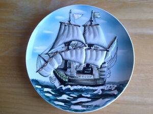 "8 inch ""MADE IN JAPAN"" ceramic hanging wall plate of a schooner"