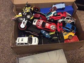 Box of cars and hot wheels bike -njo