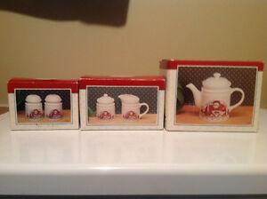 Christmas tea pot, salt & pepper, cream and sugar