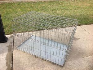 Fold down wire dog kennel with pull out tray, Harrow