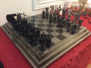 Collectible Recycled metal auto parts chess set