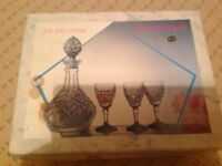 Bohemian crystal sherry decanter and six glasses