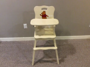 Retro Winnie the Pooh Solid Wood High Chair
