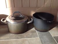 Two Meyer cooking pots and two FREE frying pans