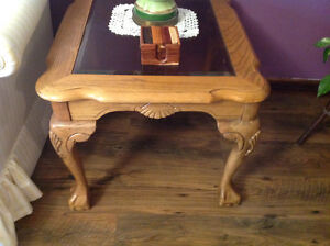 3 PIECE OAK BALL AND CLAW COFFEE AND END TABLES