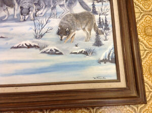 Signed W Miller oil painting wolves and framed only 60 dollars Kitchener / Waterloo Kitchener Area image 2