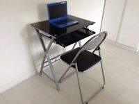 Black Glass Laptop Desk with Chair