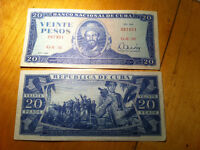 Cuba 20 Peso banknote with Camilo Cienfuegos on it 1983 currency