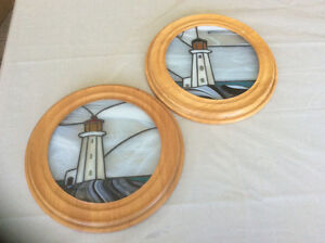 Stained glass lighthouses.
