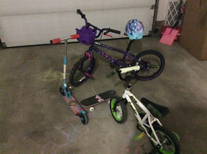 Two children bikes/scooter/skate board excellent condition