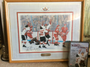 Framed Paul Henderson print and 1972 Summit Series DVD set