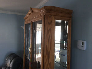 Two-piece oak china cabinet and hutch