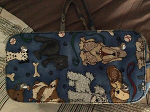 Unique Blue Dog Print Purse with Ostrich Feathers Windsor Region Ontario image 3