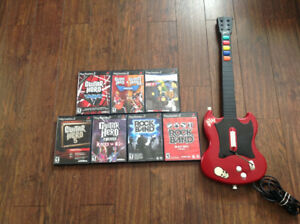 Lot of 7 Guitar Hero RB Games With Guitar For PS2